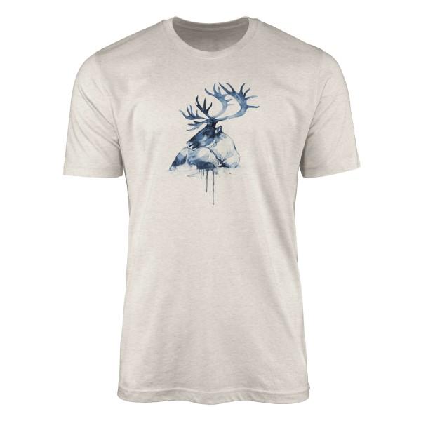 Herren Shirt 100% gekämmte Bio-Baumwolle T-Shirt Aquarell Hirsch Motiv Nachhaltig Ökomode aus erneu