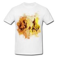 White Horses Premium Herren und Damen T-Shirt Motiv aus Paul Sinus Aquarell
