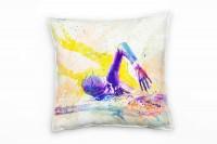 Schwimmen III Deko Kissen Bezug 40x40cm für Couch Sofa Lounge Zierkissen