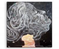Illustration–  Frauenkopf im Streetart Style auf Leinwand