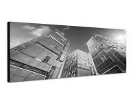 150x50cm Wolkenkratzer Glas Metall Sonnenstrahlen