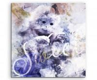 Niedlicher Affe in Blautönen mit Kalligraphie