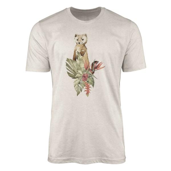Herren Shirt 100% gekämmte Bio-Baumwolle T-Shirt Aquarell Wiesel Blumen Motiv Nachhaltig Ökomode au