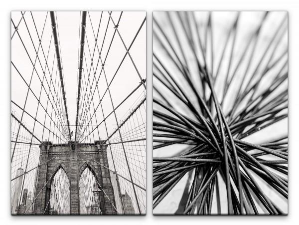 2 Bilder je 60x90cm Brooklyn Bridge New York Hängebrücke Architektur Schwarz Weiß Fokus Fotokunst