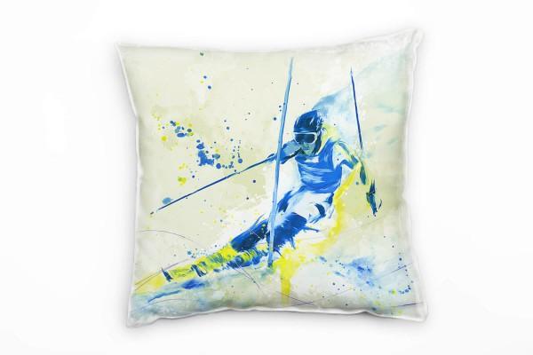 Ski Alpin I Deko Kissen Bezug 40x40cm für Couch Sofa Lounge Zierkissen