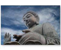 Fotografie – Buddhastatue in Hong Kong - Leinwandbild