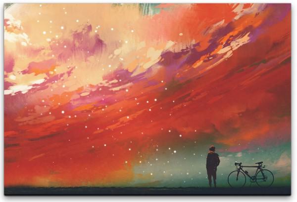 Mann mit Fahrrad vor roten Wolken Wandbild in verschiedenen Größen