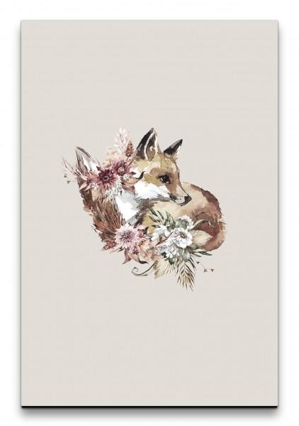 Fuchs Wasserfarben Aquarell Kunstvoll Blumen Blüten Dekorativ