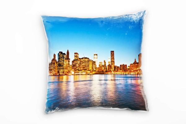 Urban Und City Gelb Blau Manhattan New York Deko Kissen 40x40cm