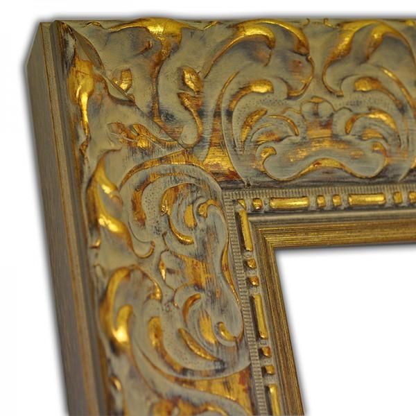 Exklusiver Echtholzrahmen Barock mit Verzierung in gold