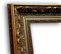 Barockrahmen Echtholz Antik gold-schwarz Antik Stuck