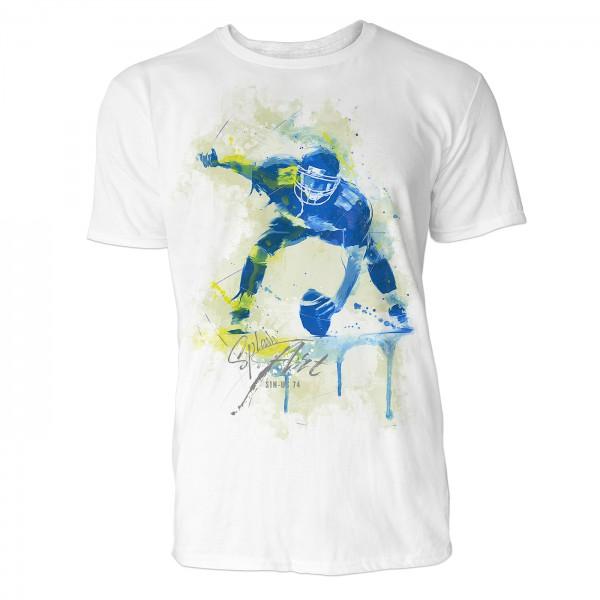 American Football Spieler Sinus Art ® T-Shirt Crewneck Tee with Frontartwork