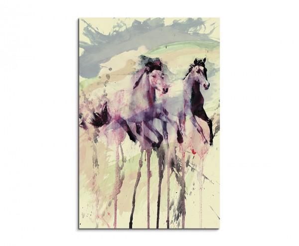 Horses Running 90x60cm  Aquarell Art Leinwandbild