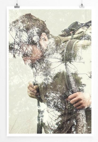 Fotocollage – Wanderer im Wald 60x90cm Poster