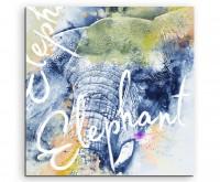 Wilde Elefant mit Kalligraphie