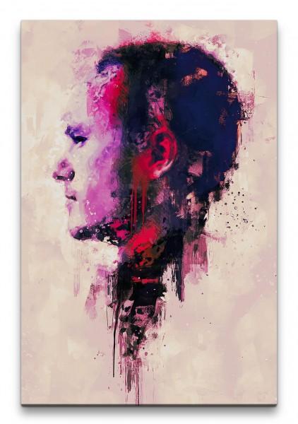 Heath Ledger Porträt Abstrakt Kunst Schauspieler Legende rote Farbe 60x90cm Leinwandbild