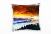 Landschaft, blau, orange, Wald, Sonnenaufgang, Ukraine Deko Kissen 40x40cm für Couch Sofa Lounge Zie
