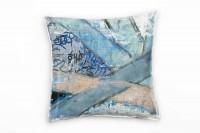 Couch Sofa Lounge Zierkissen in 40x40cm Brillantblau Ultramarinblau Braunbeige