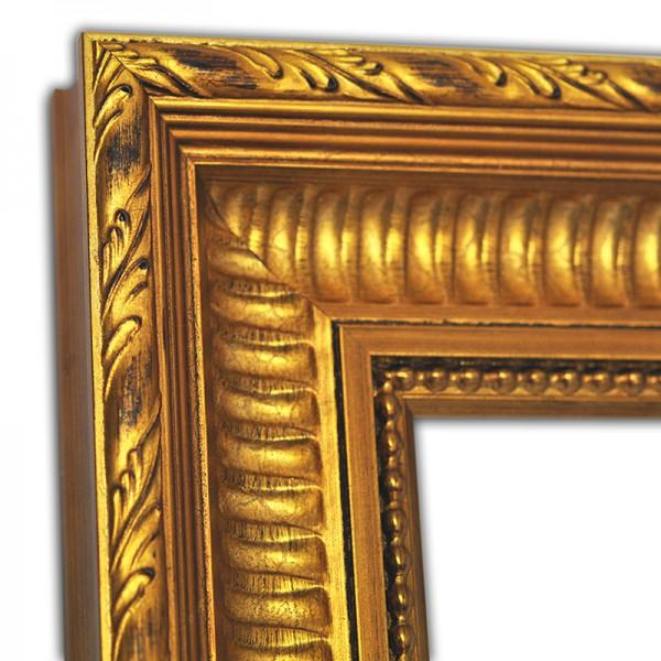 Exklusiver Echtholzrahmen gold mit Verzierung