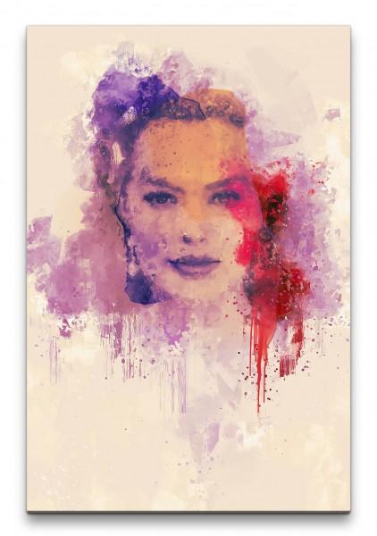 Margot Robbie Porträt Abstrakt Kunst Schauspielerin Farbenfroh 60x90cm Leinwandbild