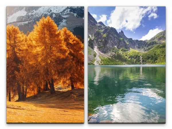 2 Bilder je 60x90cm Bäume Berge See Sommer Warm Beruhigend Relax