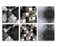 6 teiliges Leinwandbild je 30x30cm -  Abstrakt Muster Grau Weiß Schwarz