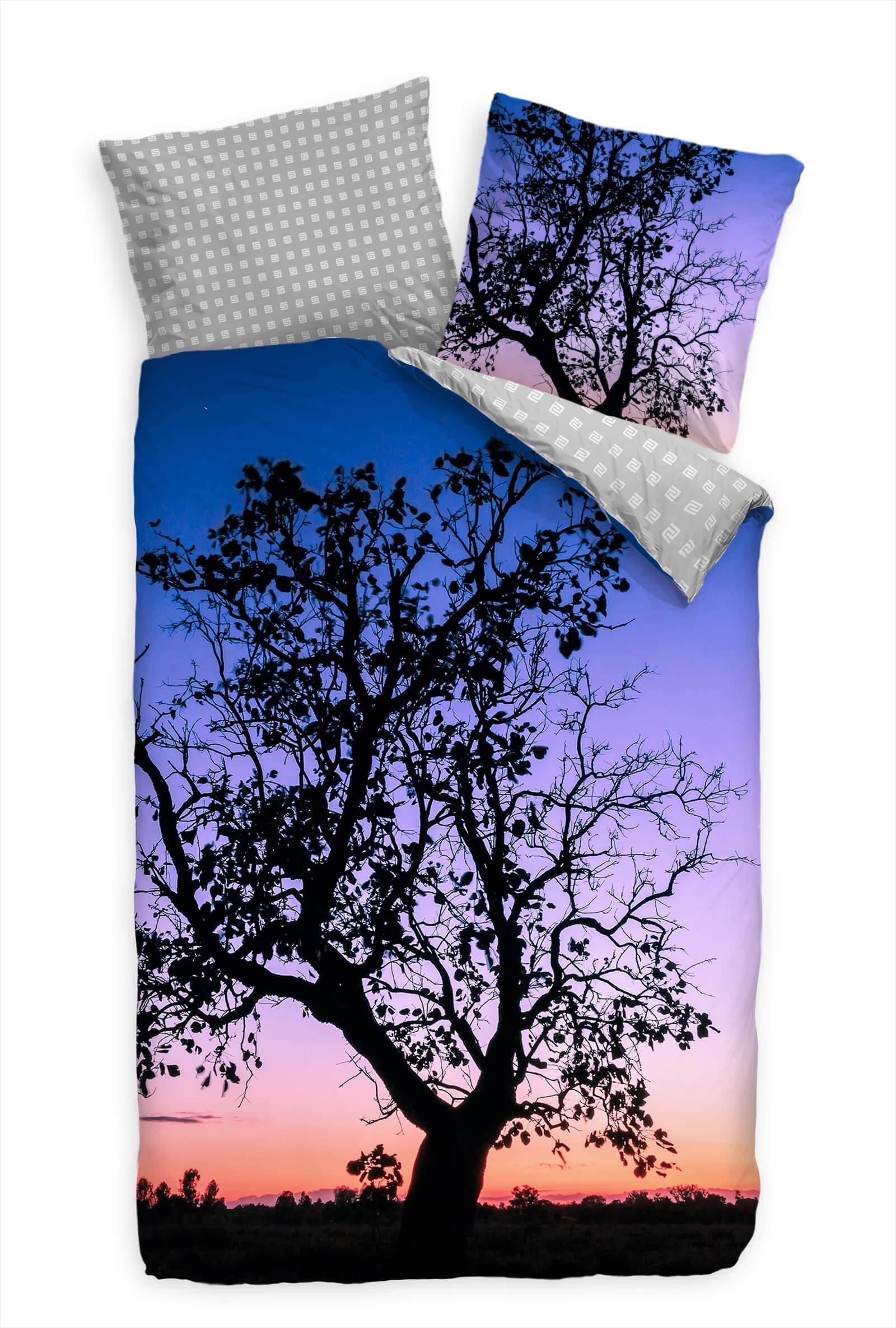 Baum Sonnenuntergang Blau  Bettwäsche Set 135x200 cm  80x80cm  Atmungsaktiv | Charmantes Design
