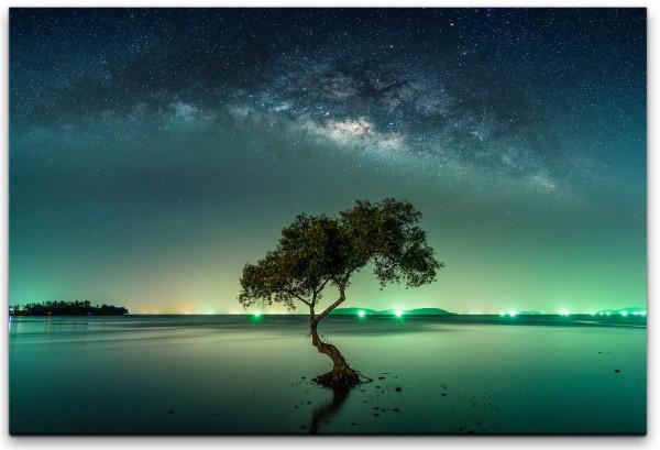 Landschaft mit Milchstraßenhimmel Wandbild in verschiedenen Größen