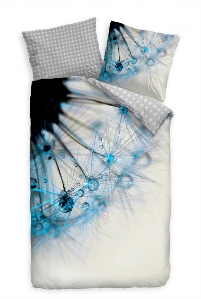 Abstrakt Pusteblume Blau Makro Tropfen Bettwäsche Set 135x200 cm + 80x80cm Atmungsaktiv