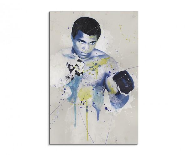 Muhammad Ali Splash 90x60cm Kunstbild als Aquarell auf Leinwand