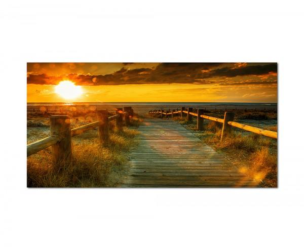120x80cm Sonnenuntergang Strand Meer Steg