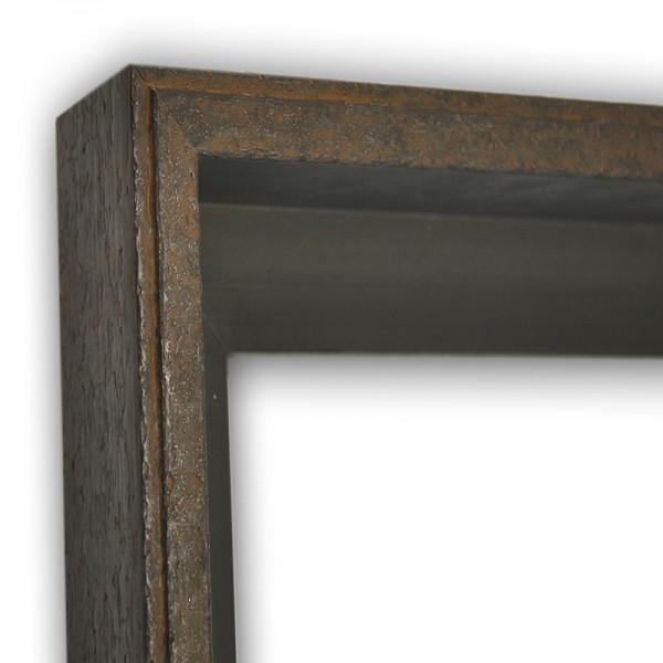 Exklusiver Schattenfugenrahmen Echtholzrahmen Stahloptik braun