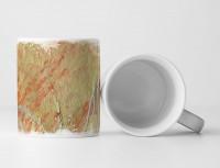 Tasse Geschenk olivgrün, orangenen Farbspritzern