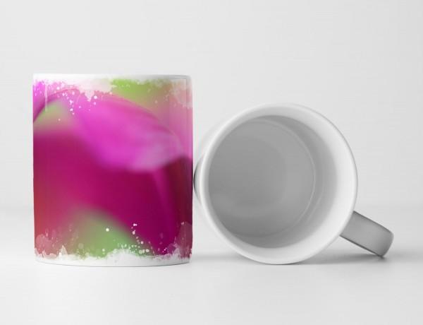 Tasse Geschenk Blüte in grün und pink