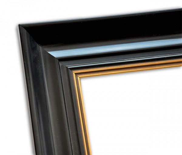 Elegant Klassischer Echtholzrahmen glänzend Schwarz und mit Gold patiniert