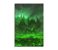 Green Dragon In The Volcano Fantasy Art 90x60cm
