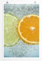 60x90cm Food-Fotografie Poster Aufgeschnittene Limette und Orange