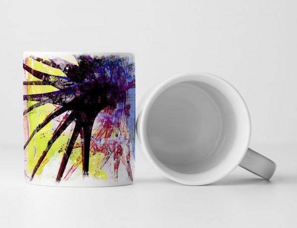 Tasse Geschenk Seeigelähnliches Muster,himmelblau, zitronengelb