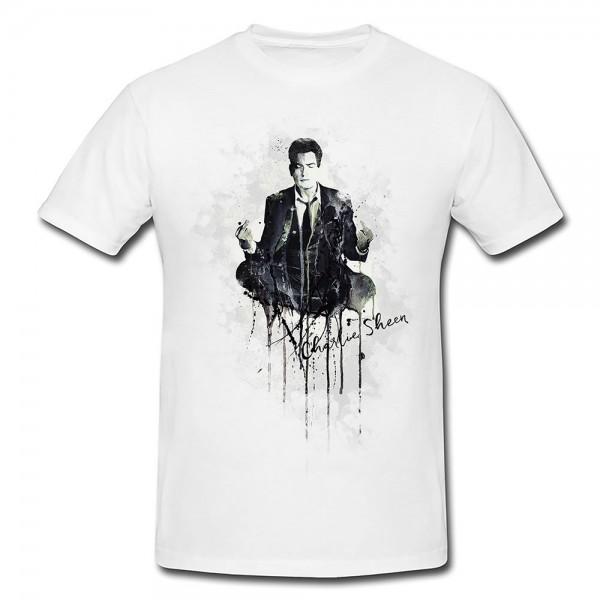 Charlie Sheen Premium Herren und Damen T-Shirt Motiv aus Paul Sinus Aquarell