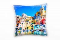 City, bunt, Neapel, Boote, Architektur, Sommer, Italien Deko Kissen 40x40cm für Couch Sofa Lounge Zi