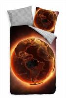 Erdball Apokalypse Glutrot Feuer Bettwäsche Set 135x200 cm + 80x80cm  Atmungsaktiv