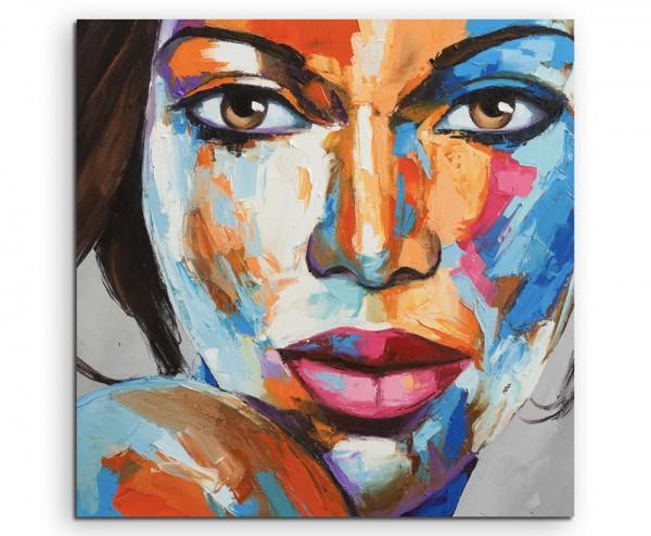 Buntes modernes Ölgemälde – Frauenportrait auf Leinwand exklusives Wandbild moderne Fotografie für i