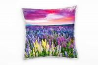 Blumen, bunt, Blumenwiese, farbenfroher Himmel Deko Kissen 40x40cm für Couch Sofa Lounge Zierkissen