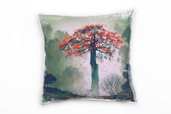 Abstrakt Herbst Baum Gemalt Rot Grau Deko Kissen 40x40cm Fur