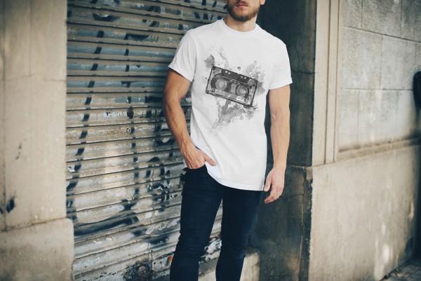 Kassette Oldschool Herren und Damen T-Shirt BLACK-WHITE