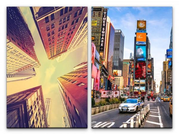 2 Bilder je 60x90cm New York Wolkenkratzer Times Square Architektur Großstadt Mega City Urban
