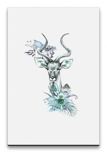 Antilope Savanne Wasserfarben Wunderschön Friedlich Blumen Dekorativ