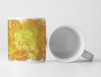 Tasse Geschenk sonnengelbe Grundierung und zitronengelbes Muster