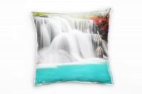 Natur, weiß, türkis, rosa, Wasserfall, Thailand Deko Kissen 40x40cm für Couch Sofa Lounge Zierkissen