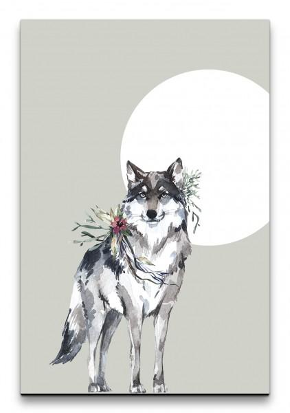 Wolf Nacht Mond Raubtier Mystisch Wasserfarben Kunstvoll